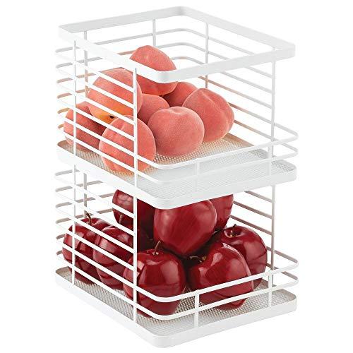 mDesign Recipiente de cocina para fruta – Fruteros de cocina apilables con abertura frontal – Cesta de metal ideal para guardar pan, hortalizas, snacks y mucho más – Juego de 2 – blanco mate