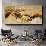 La creación de Adán de Michelangelo, pinturas en lienzo famosas en la pared, carteles artísticos e impresiones, imágenes artísticas de mano a mano 50x100 CM (sin marco)