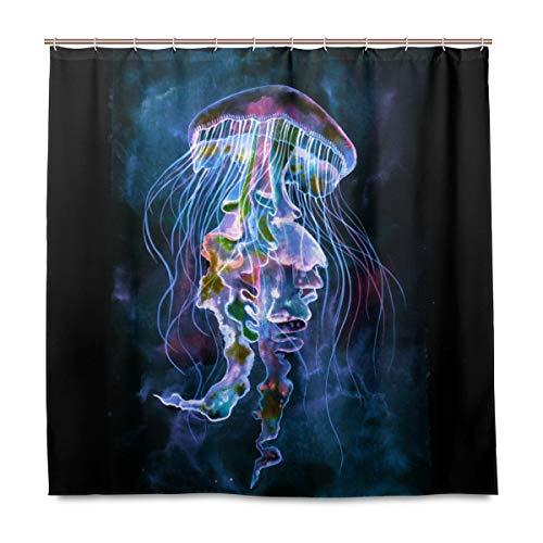 Wamika Duschvorhang mit Wasserfarben-Quallen & Haken, wasserdicht, für Zuhause, Badezimmer, schwarz, violett, Dekoration, Baddekor, Duschvorhang, schimmelresistent, 180 x 180 cm