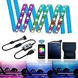 Tira de luz LED RGB para Patinete eléctrico con Controlador Bluetooth y Caja de Pilas, 2 Tiras LED Plegables para Patinete, Longboard, Bicicleta, luz Decorativa de Seguridad (2 x 1,64 pies)