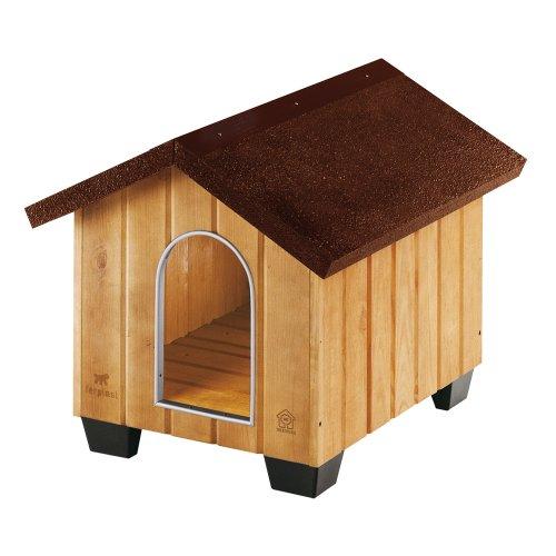 Feplast 87001000 Caseta de Exterior para Perros Domus Small, Robusta Madera Ecosostenible, Pies de Plástico, Rejilla de Ventilación, 61 x 74.5 x 55 Cm, Negro