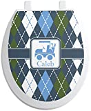 YouCustomizeIt Blue Argyle Toilet Seat Decal - Round (Personalized)