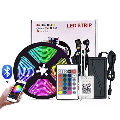 Tiras LED, Control De Aplicación Inteligente Bluetooth RGB Que Cambia De Color Música Sincronización Tira De Luz Con Control Remoto IR Para La Decoración De La Fiesta De La Barra Del Dormitorio,5M