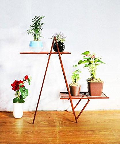 Porte Plante Simple créatif fleur de fer cadre pot de fleurs de sol double-couche intérieur salle de fleurs racks Étagères à fleurs (Couleur : Brass)