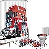 Juego de cortinas baño Accesorios baño alfombras Coches Alfombrilla baño Alfombra contorno Cubierta del inodoro Gran camión de bomberos con equipo de emergencia,equipo de rescate de seguridad universa