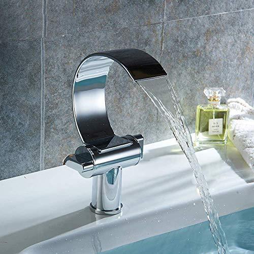 ZANYUYU Diseño de Moda Baño de Plata electrochapada Interruptor Lavabo Doble de Cobre Cascada Curvo Grifo de Agua Caliente y frío Acondicionado Creativo práctica Hermosa