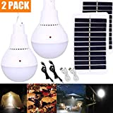 2PCS Lámpara Solar Portátil Bombilla de LED Solar Portatil, Luz Solar para Interior Exterior, Luz de Emergencia Senderismo Tienda Camping Luz de Trabajo Nocturna (2PCS)