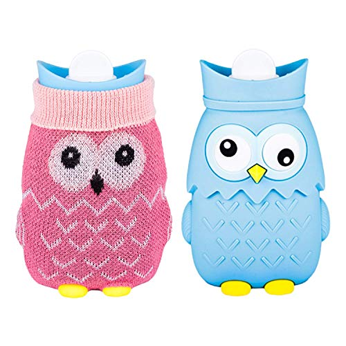 Yinghesheng Wärmflasche Mit Bezug, Hot Water Bottle with Leak-Proof Cover 400 Ml Hot Water Bottles with Knitted Cover Turtleneck Heat Cushion for Cold Winter Days and Pain & Fever,Blau