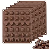 5PCS Silicone Chocolate Candy Molds, FULANDL Non Stick Reusable 30-Cavity Candy Baking Molds Ice Cube Trays for Candy, Gummy, Fat Bombs (5PCS 30-Cavity)