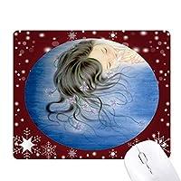 ブルーオーキッドファンタジーの女の子のイラスト オフィス用雪ゴムマウスパッド
