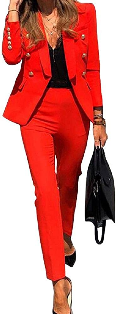 Depslee Women's Two Piece Open Front Solid Color Long Sleeve Blazer and Matching Straight-Leg Pants Set Suit