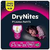 Huggies DryNites hochabsorbierende Pyjama-/ Unterhosen, Bettnässen Mädchen Jumbo Monatspackung, 3-5 Jahre  (64 Stück)