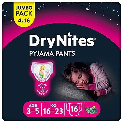 Huggies DryNites hochabsorbierende Nachtwindeln bei Bettnässen, für Mädchen 3-5 Jahre, 4 x 16 Stück (insg. 64 Stück), Monatspackung Windel-Pants