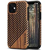 TENDLIN Kompatibel mit iPhone 11 Hülle Holz & Leder Hybrid Handyhülle (Rotes Sandelholz)