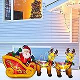 su-xuri 2,4 m de Papá Noel hinchable, con trineo y renos decorativos, decoración de Navidad, decoración de jardín o casa, interior o exterior, iluminación LED