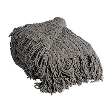 J&M Home Fashions Luxury Chenille Woven Knitted Throw Blanket with Fringe (50x60  - Sable), Reversible, Soft, Warm for Bed, Chair, Couch, Camping, Beach, or Travel