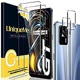 [2+2 Pack] UniqueMe Compatible con Realme GT 5G Protector de Pantalla y Protector de Lente de cámara, Vidrio Templado [9H Dureza] HD Film Cristal Templado