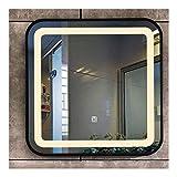 Pursue Espejo de baño Iluminado con Regulable Interruptor táctil Anti-vaho (Size : Black Frame)
