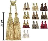 e-kurzwaren Dobles Borla con Cordel 20cm / 70cm Abrazadera para Cortinas, Alzapano, Cuerda con Borla, Cortina, decoración del hogar