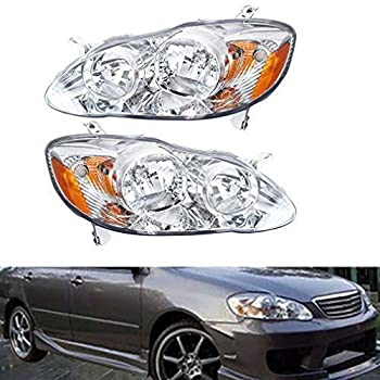 Headlights Front Head Lamps Direct Replacement Pair Left + Right Completed Set for 2003 2004 2005 2006 2007 2008 Toyota Corolla
