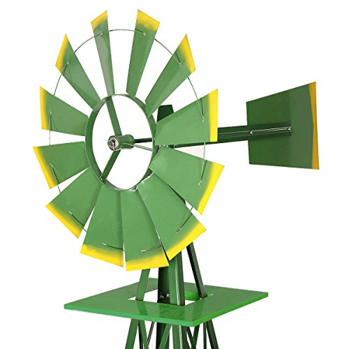 COLIBROX One 8Ft Tall Windmill Ornamental Wind Wheel Garden Weather Vane Green and Yellow