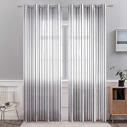 MIULEE 84 Inches White Sheer Curtains Linen Textured Grommet Window Pinstripe Drapes for Bedroom Living Room, W52 x L84 Black Stripe 2 Panels