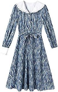 Artistic Lady Spring Dress Lapel High waist Slim A-Line Skirt High Quality (Color : Blue, Size : L)