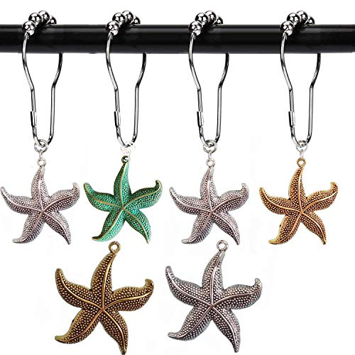 Aimoye Starfish Shower Curtain Hooks Rings - Decorative Accessories Set, Nature, Tropical Ocean, Sea,Island Beach, Nautical, Coastal, Modern,, Romantic Scenic Theme Bathroom Decor,12PCS