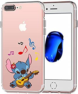 iPhone 7 Plus CASE,iPhone 8 Plus CASE, Stitch Playing Guitar 3D Printed Soft Clear Cute Case