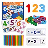 TSYAN Math Educational Toy, Wooden Number Matching Flash Cards and Counting Sticks Puzzle Game Basic Addition and Subtraction Learning Kindergarten Montessori STEM Toy for Kids Toddlers Age 3+