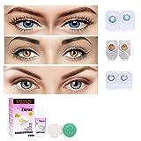 Pack of 3 Pair contact lens, 1 Lens Solution 30 ml Lens Material: Phemfilcon A; Base Curve: 8.6 mm; Diameter: 14.2 mm Ingredients: Phemfilcon A-55%, water-45% 0 Power Contact Lenses For Men Women Boys and Girls