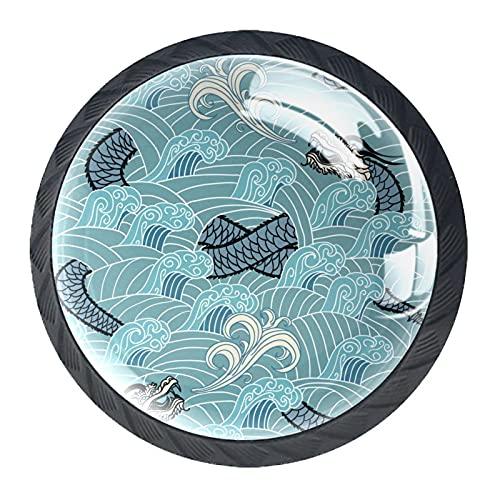 AITAI Juego de 4 pomos decorativos para puerta, diseño de dragón azul oriental en la onda, elegante adición para armario, cajón, aparador, dormitorio
