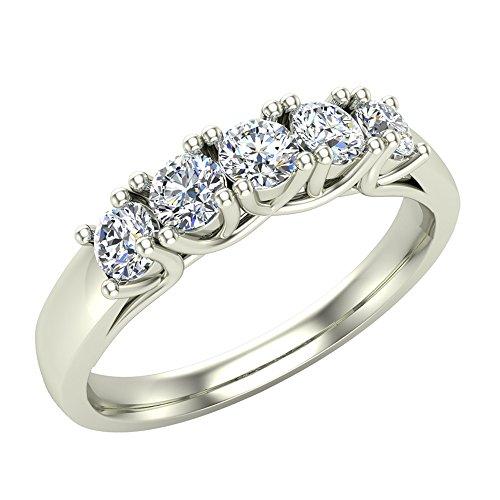 Glitz Design Mujer Niños Hombre Unisex oro 14 quilates (585) oro blanco redonda H-I Diamond