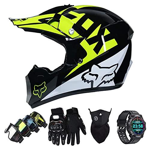 Casco Motocross Niño Set con Diseño FOX, Adulto y Juventud Integral Homologado Moto Cross Casco para Downhill ATV Enduro Off Road (Gafas+Máscara+Guantes+Reloj Inteligente) LXY-17