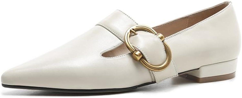 Damen Single Schuhe Schuhe Schuhe Schlüpfen Komfort Weich Leder Spitz Zehe Faulenzer Wohnungen Clever Metall Gürtel Schnalle Arbeit , Beige , EUR 38  UK 5.5  d526d3