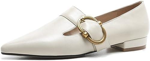 Femmes Unique Chaussures Glisser sur Confort Doux Cuir Pointu Doigt de pied Flaneurs ApparteHommests Intelligent Métal Ceinture Boucle Travail