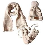 VIccoo Los niños Bufanda, 3 en 1 niños pequeños Invierno Tejido Acanalado cálido pompón Gorro Bufanda Guantes Conjunto - Leche Blanca