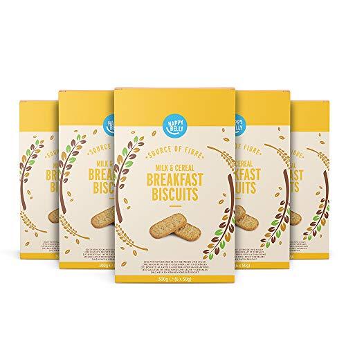 Marque Amazon - Happy Belly - Biscuits petit déjeuner lait et céréales, 5 x 300 g