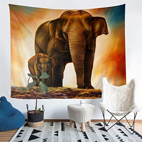 Tbrand Tapiz de elefante para colgar en la pared, diseño étnico, para niños, niñas, animales africanos, decoración de pared para dormitorio, sala de estar, tamaño mediano 137 x 132 cm