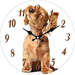 MEISTAR 6 Inch Small Wooden Wall Clock for Children Room and Kids Room Decoration,Modern Style Simple Brown Cute Dog Design Arabic Numerals Wall Clock