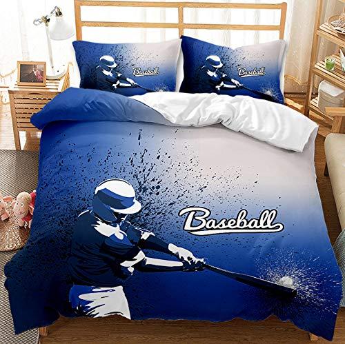 PANDAWDD Ropa De Cama De Béisbol Azul 3D/260X240cm Funda Nórdica Grande 3 Piezas Moderno Reversible Impreso Microfibra Edredón Ropa De Cama Conjunto Cierre De Cremallera