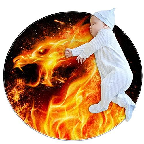 Indimization Dragón de Fuego Alfombra Redonda Alfombra Redonda decoración Arte Antideslizante niños Lavables a máquin Suave Sala Estar Dormitorio de Juegos para 80x80cm