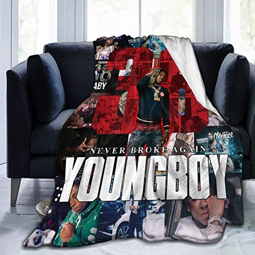 """Bestrgi Super Soft Micro Fleece Printed Y-ou-n-g Boy Adult and Kids N-e-v-er B-r-o-k-e Decorations A-ga-in Throw Blanket Fuzzy Plush Warm for Bed Couch Living Room Bedroom Daily Home Office 50""""x40"""""""