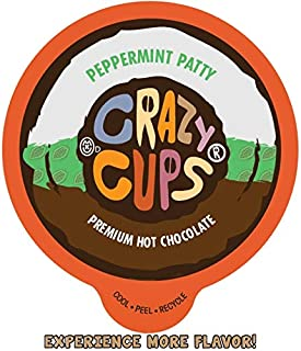 Crazy Cups Seasonal Hot Chocolate, Peppermint Patty Premium Hot Chocolate Hot Cocoa, Single Serve Cups for Keurig K Cup Brewers, 22 Count