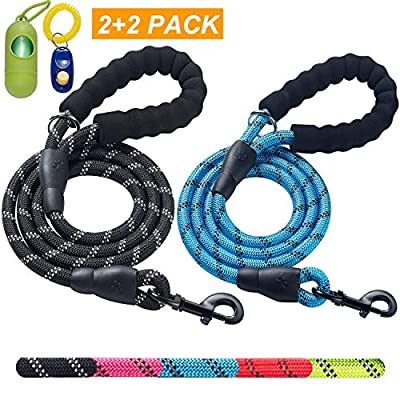 ladoogo 2 Pack 5 FT Heavy Duty Dog Leash with Comfortable Padded Handle Reflective Dog leashes for Medium Large Dogs by ladoogo