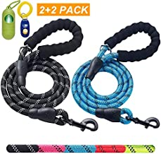 ladoogo 2 Pack 5 FT Heavy Duty Dog Leash with Comfortable Padded Handle Reflective Dog leashes for Medium Large Dogs