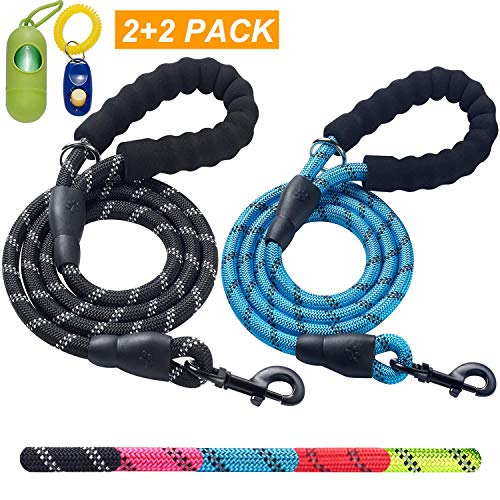 ladoogo 2 Pack 5 FT Heavy Duty Dog Leash with Comfortable Padded...