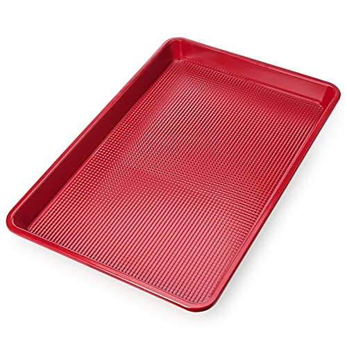 Ultra Cuisine Nonstick Jelly Sheet Pan for Baking - 10x15 inch Red Baking Pan - Easy Clean, Durable, Warp Resistant Cookie Sheet for Roasting & Cooking - Easy Release, Even Baking, Food Safe Coating