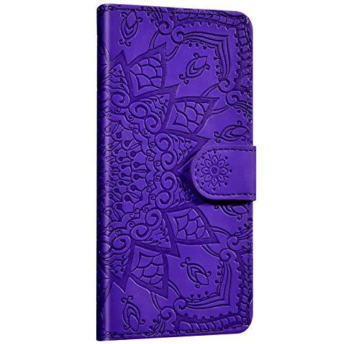 Saceebe Compatible avec Huawei P20 Pro Coque Cuir Étui Wallet Housse Fleur Mandala Motif Portefeuille Housse Rabat Flip Case Fermeture Magnétique Porte-Carte Support Anti-Choc Cover,Bleu