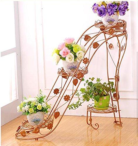 Bloempotten Multilayer ijzeren bloempot houder binnen en buiten de kamer woonkamer balkon schoenen met hoge hakken creatieve bloem plank Scindapsus opknoping orchideeën (Kleur: Brons, Maat : 90cm)